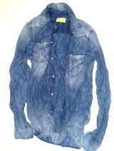 GAS Thema.JW01 Item.SHIRTS Style No.150767 Material No.010378 STYLE NAME.KANT INDIGO FLOWER JACQAURD 3O Color.WY46 WY46